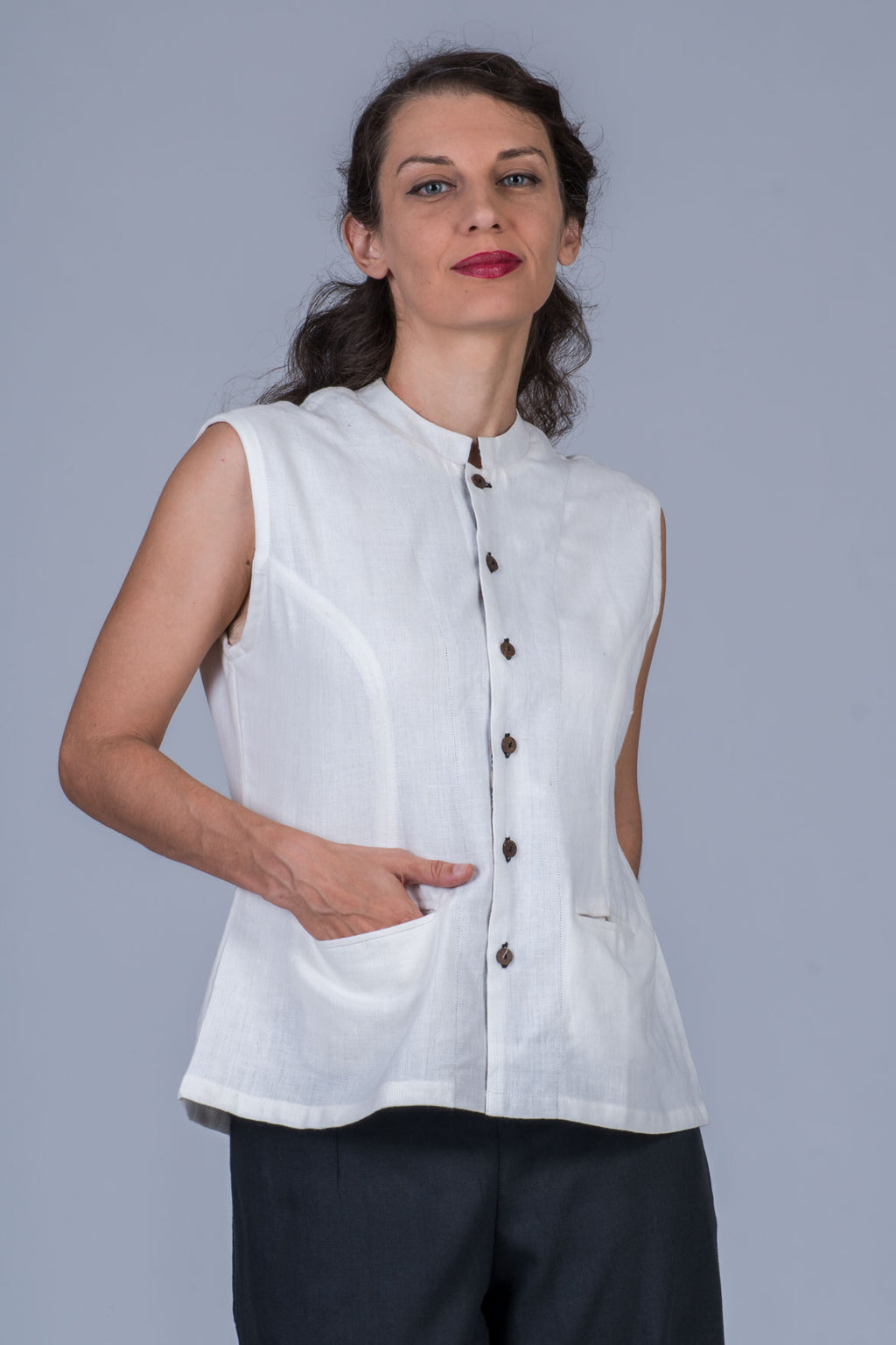 White Khadi Jacket Top -MAYA - Upasana Design Studio