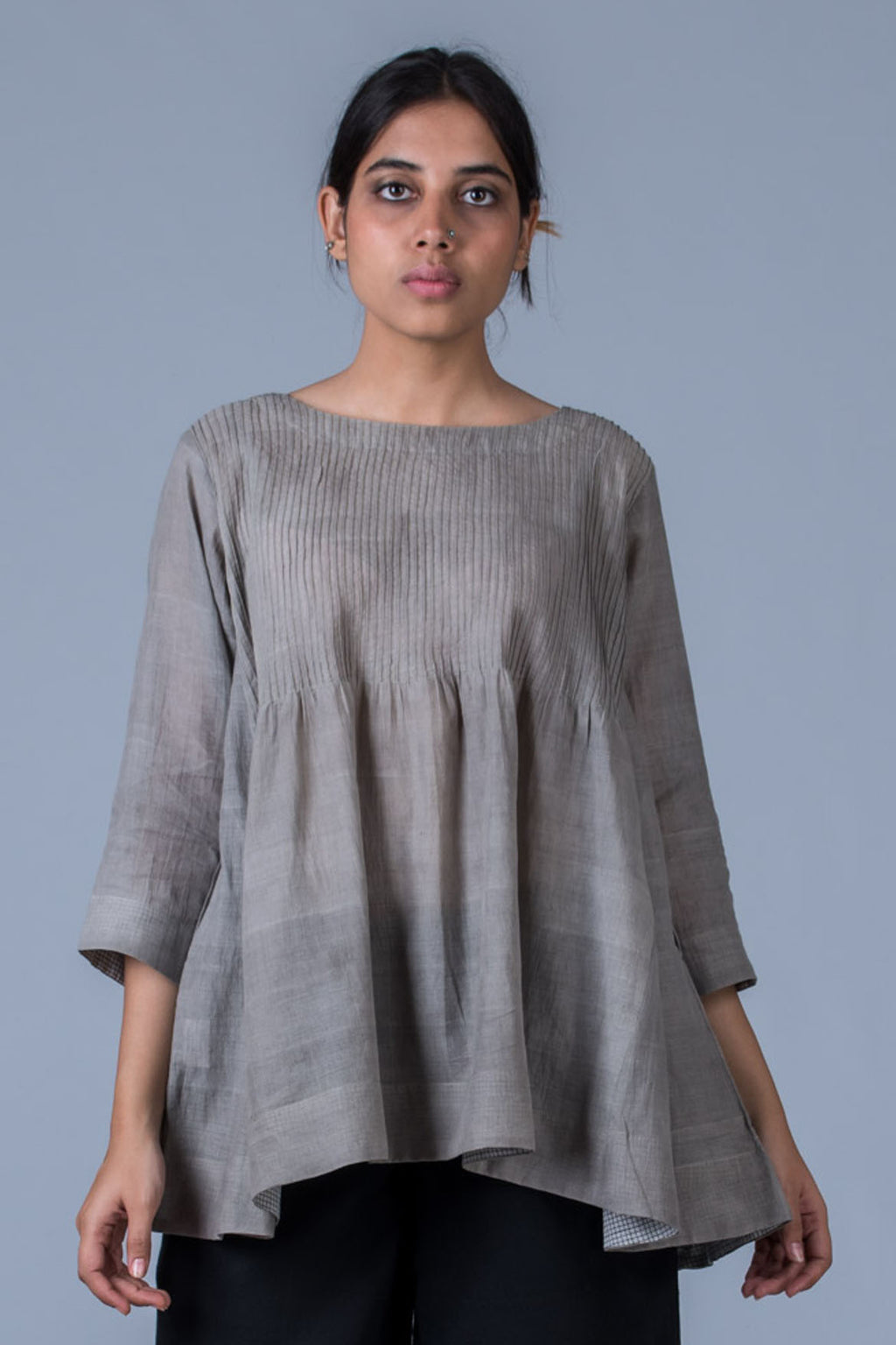 Tulsi dyed Organic Cotton Top - UMILEE - Upasana Design Studio