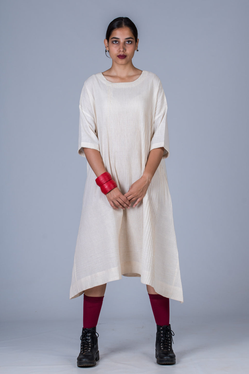Offwhite Khadi Pintuck Dress - KARL