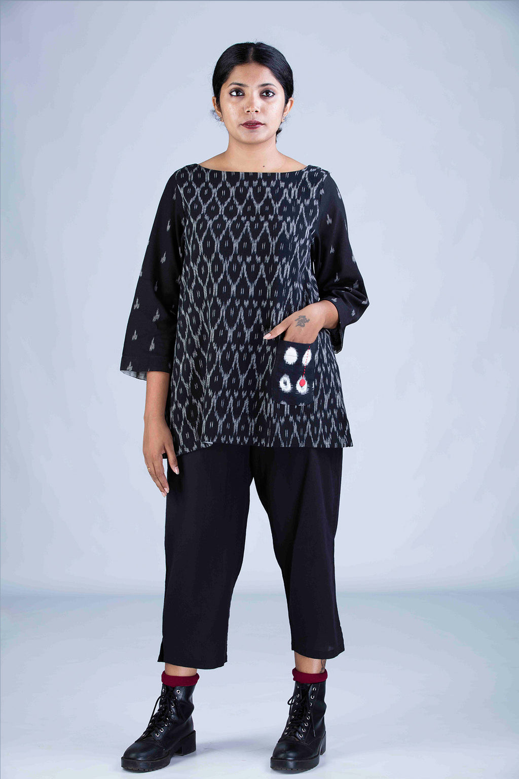 Black Ikat Top - PARI - Upasana Design Studio