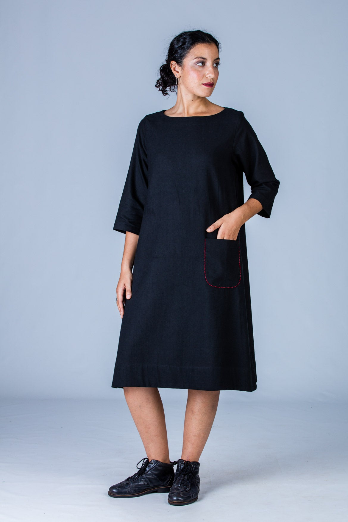 Black Khadi Dress - PARINA - Upasana Design Studio