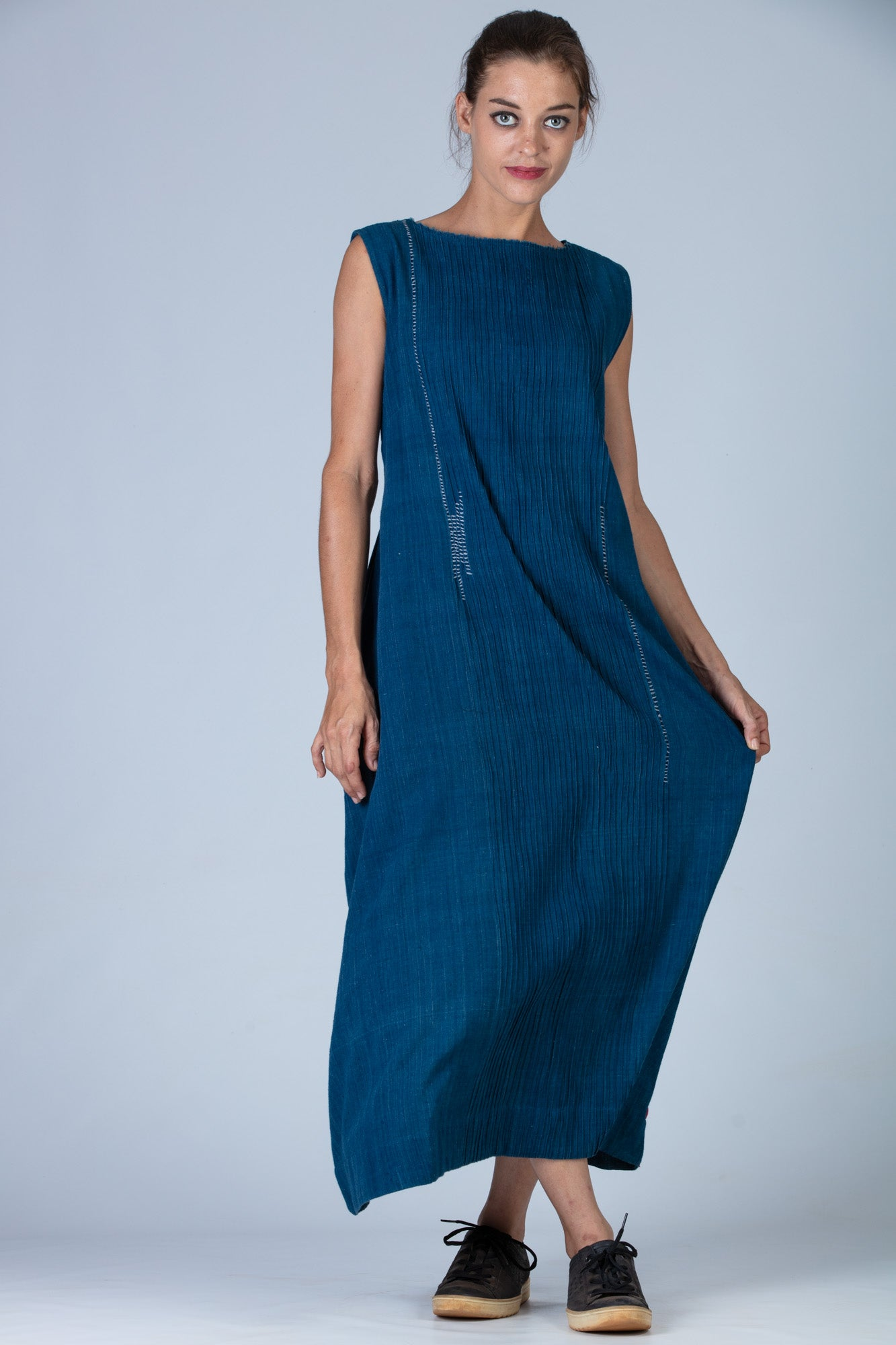 Natural Indigo Cotton Dress - NIKITA - Upasana Design Studio