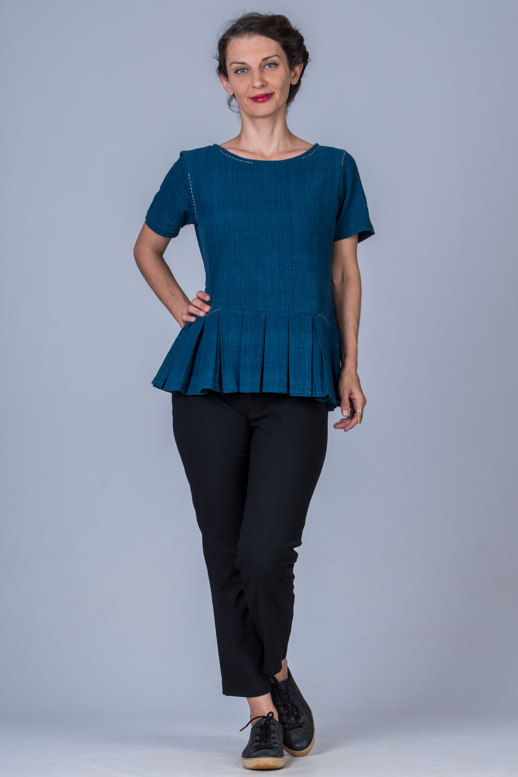 Indigo Dyed Handwoven Top - WHY