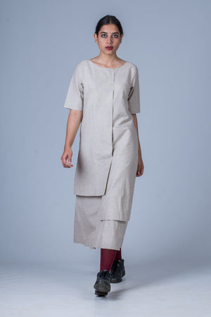 Grey Organic cotton Dress - SANGYA - Upasana Design Studio