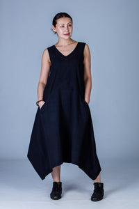 Black Organic cotton Dress - INES - Upasana Design Studio