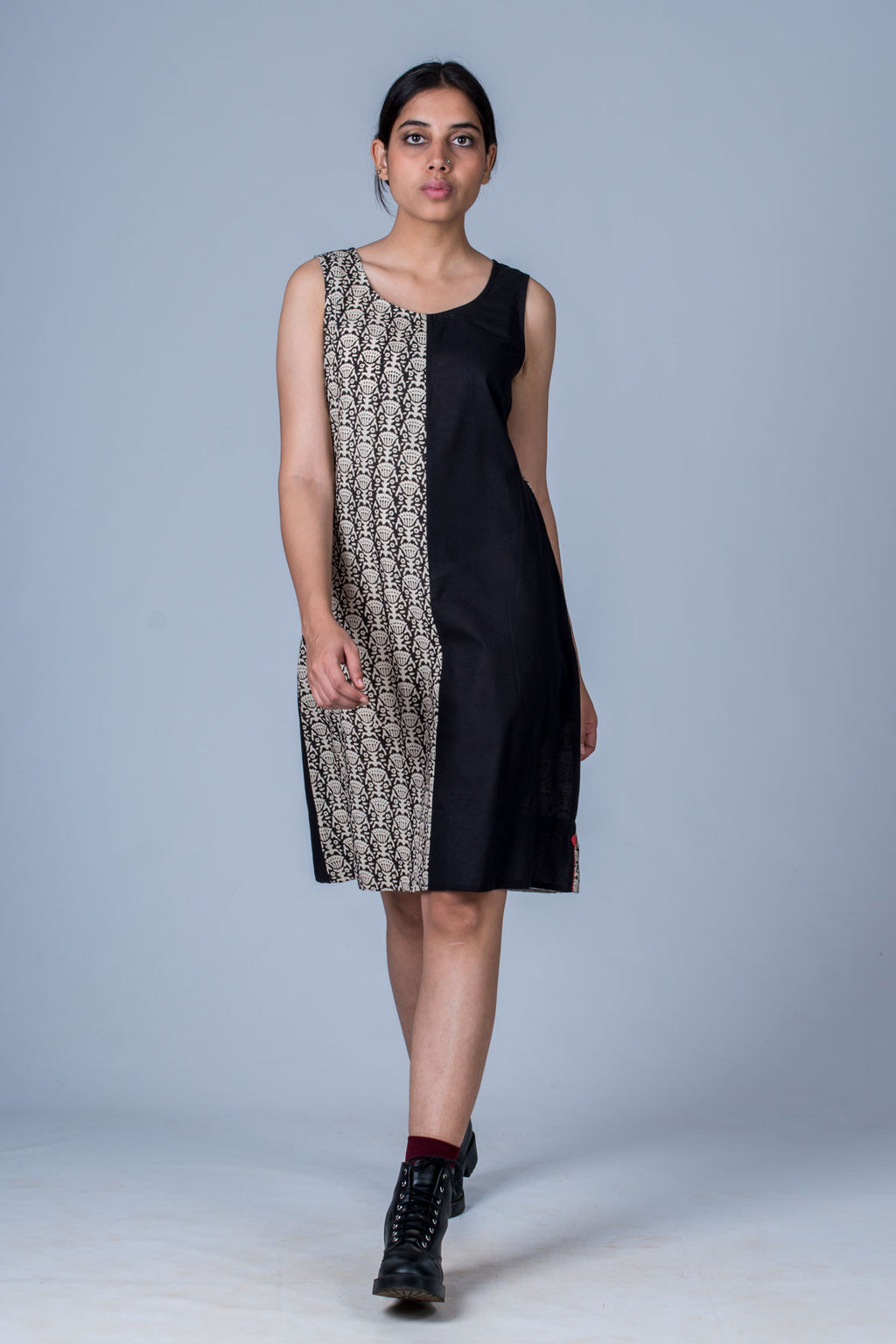 Black Organic cotton Hand block printed Dress - NIKITA