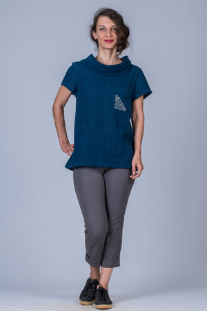 Natural Indigo Khadi Emboidered Top - WHEN - Upasana Design Studio
