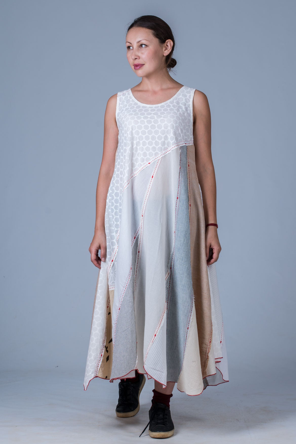 Off White Upcycled Dress - NAISHA - Upasana Design Studio