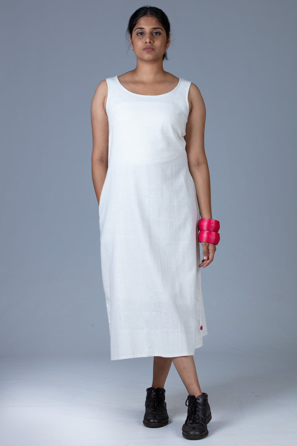 White Khadi Dress - NIKITA - Upasana Design Studio