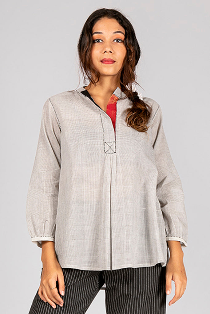 Off White Organic Cotton Checked Top - AARA - Upasana Design Studio