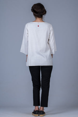 White Khadi Long Top - PARI - Upasana Design Studio