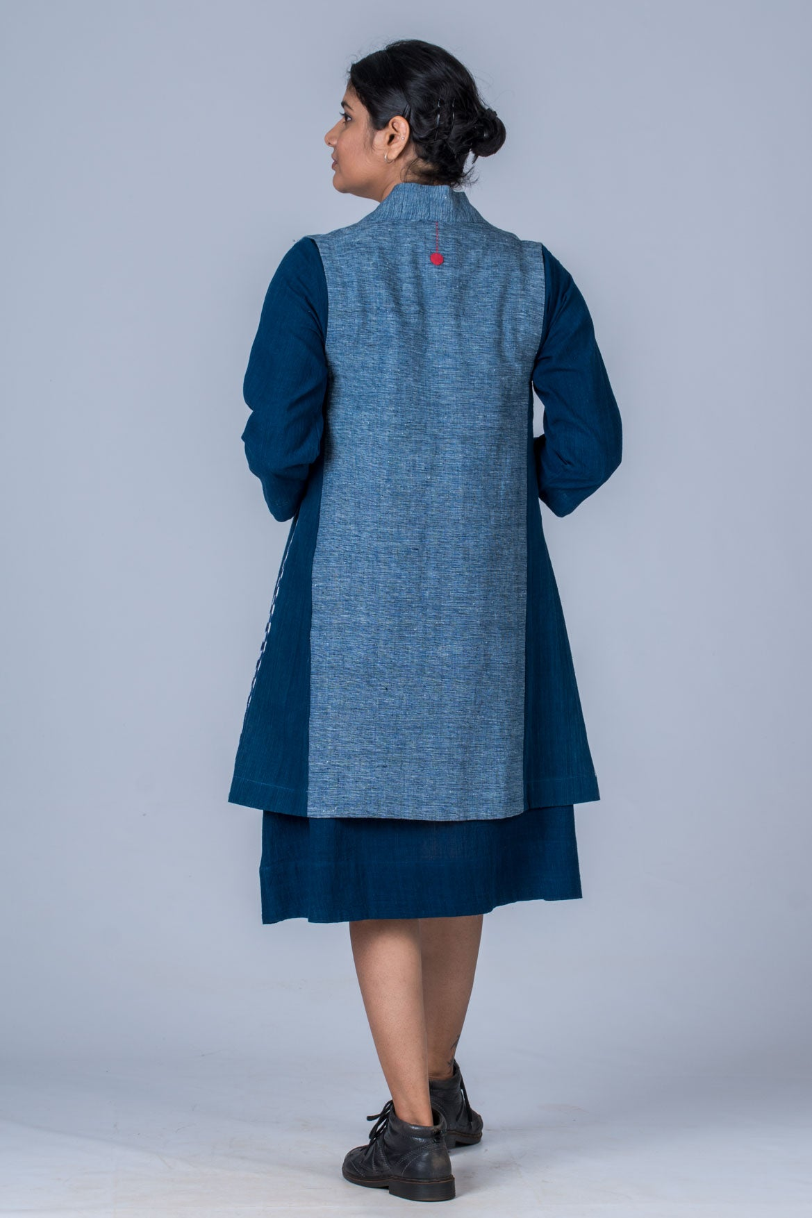 Indigo organic cotton and khadi Jacket - SHIZU - Upasana Design Studio