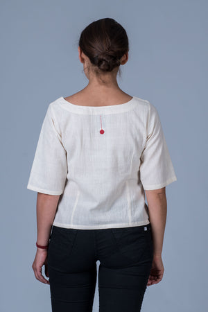 Off White Desi cotton Khadi Emboidered Top - KUTTY