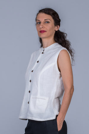 White Khadi Top -MAYA