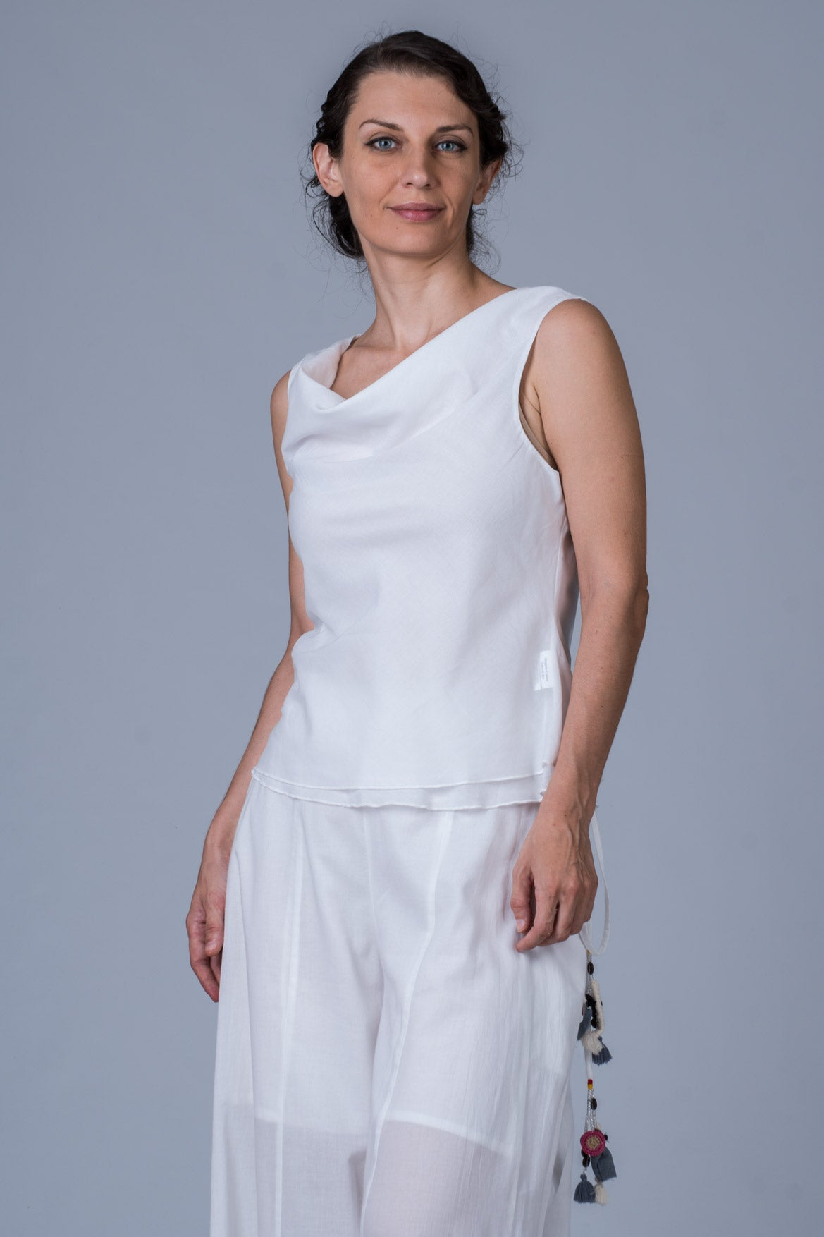 White Organic cotton Top - COWL - Upasana Design Studio