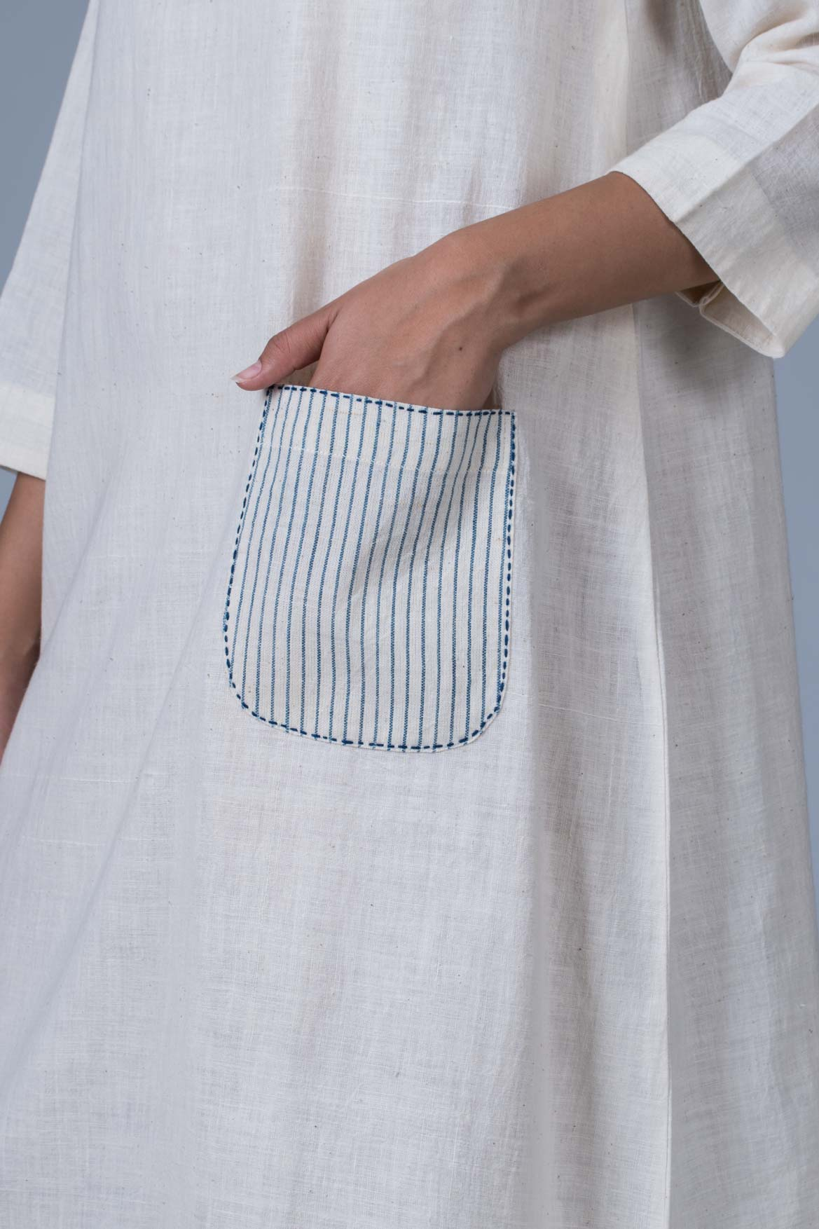 Offwhite Khadi Dress - PARINA