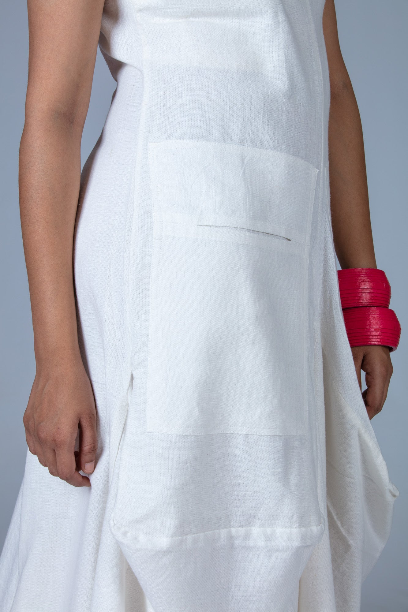 White Khadi Dress - JESSICA - Upasana Design Studio