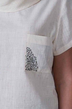 Off-white Desi Khadi Emboidered Top - WHEN - Upasana Design Studio