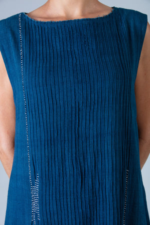 Natural Indigo Khadi Dress - NIKITA