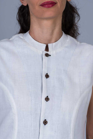White Khadi Top -MAYA-detail