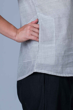 White  Organic cotton Top with Black checks - AHELI
