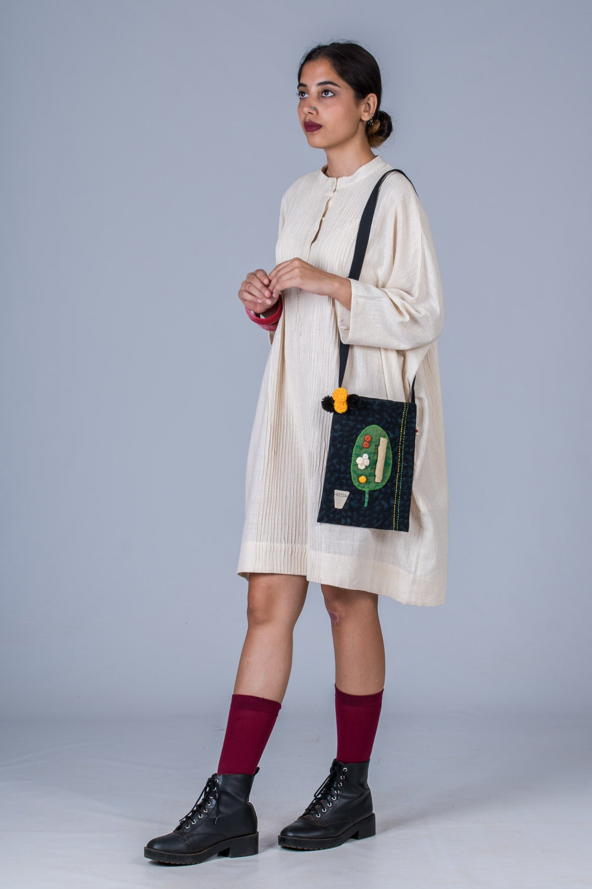 Offwhite Khadi Pintuck Dress with UPASANA bag