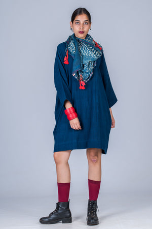 Natural Indigo Khadi Dress - MUKTA