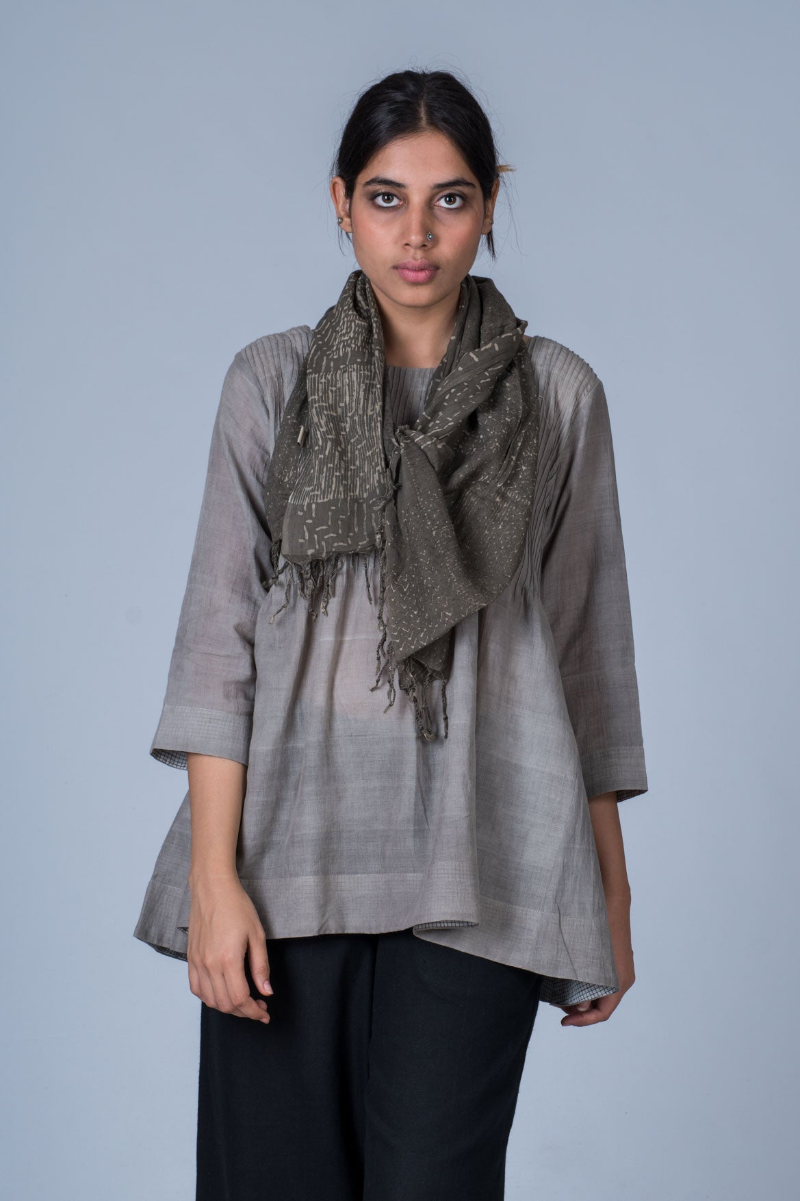 Light Grey Tulsi dye on Organic Cotton Top - UMILEE