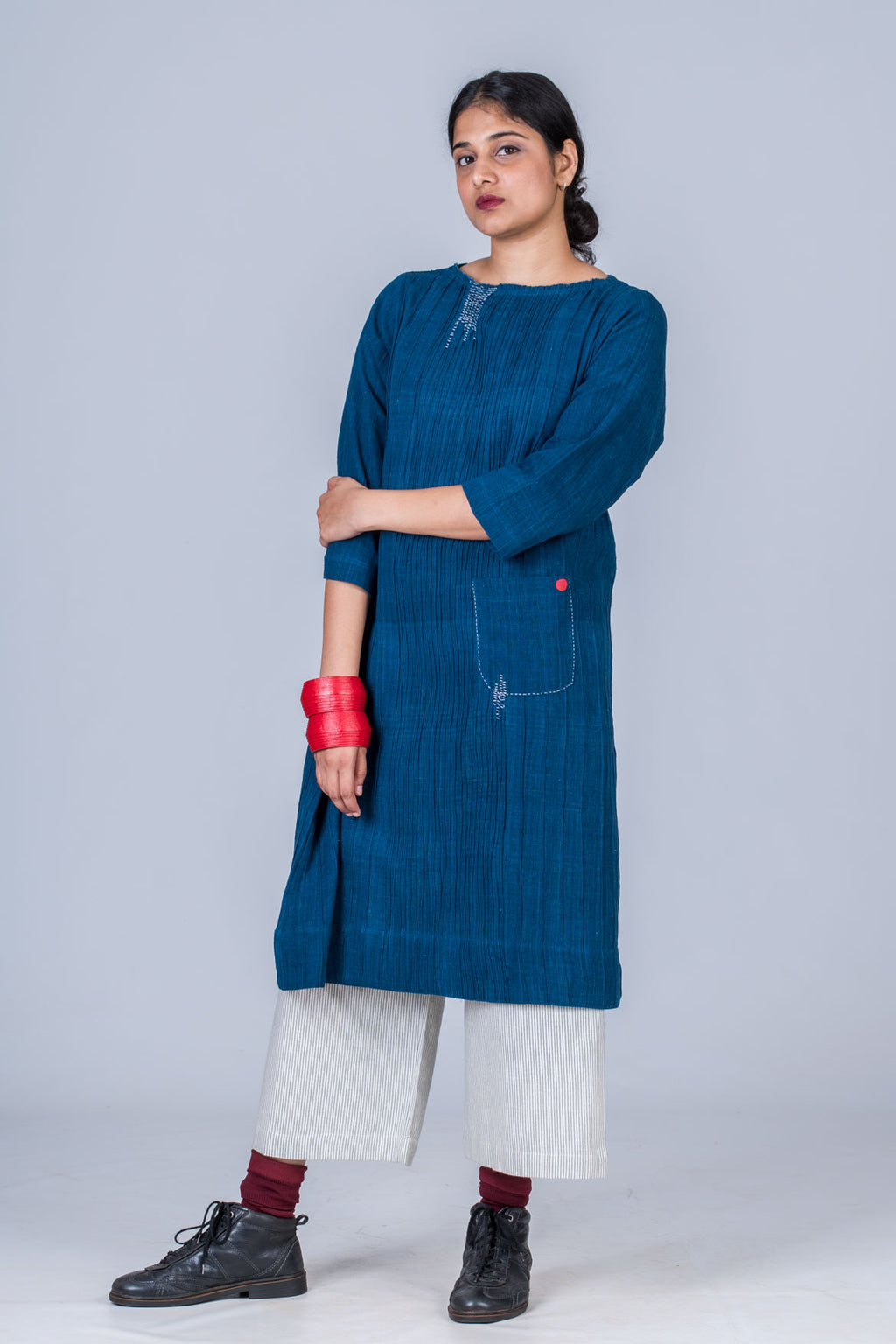Natural Indigo Cotton pintuck dress - PARINA - Upasana Design Studio