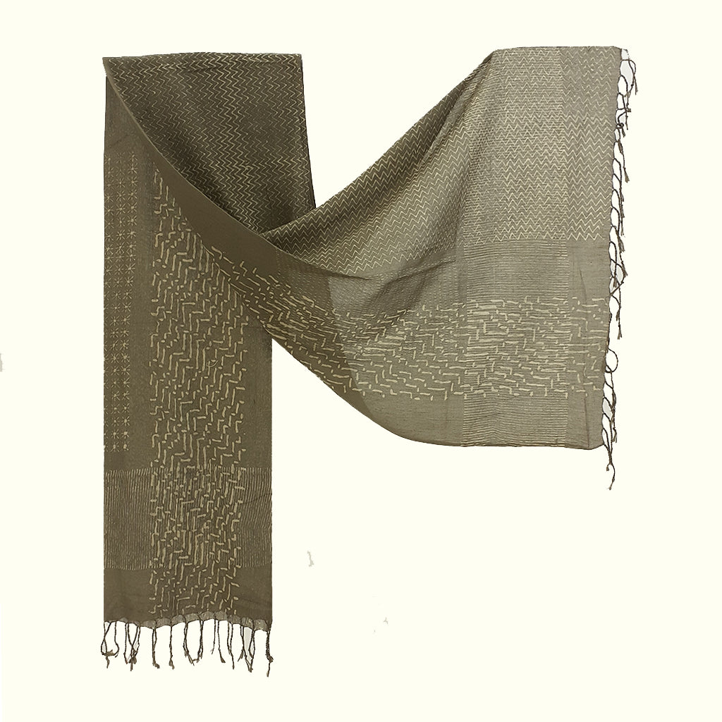 Natural Dyed Organic cotton Hand Block printed Scarf - ABRI