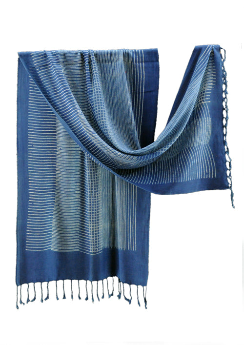 Natural Dyed Organic cotton Hand Block printed Scarf - AARYANA