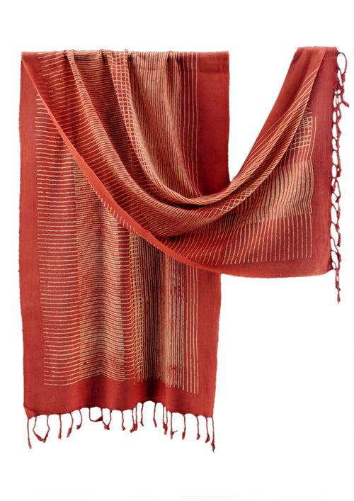 Natural Dyed Organic cotton Hand Block printed Scarf - AARYANA - Upasana Design Studio