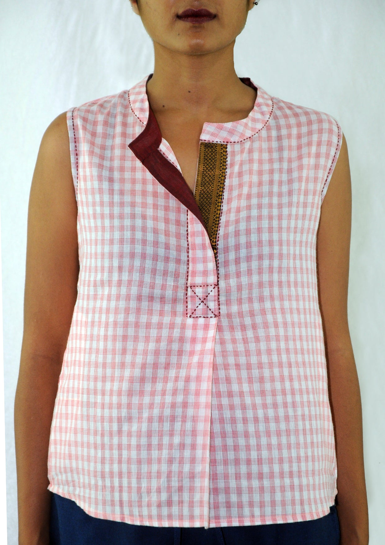 Aheli-Sleeveless Pink Checked Top