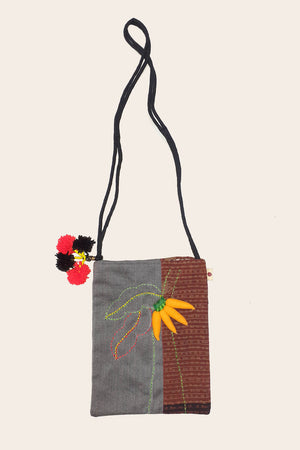 3D Upcycled Organic cotton sling bag - BANANA FRUIT - Upasana Design Studio