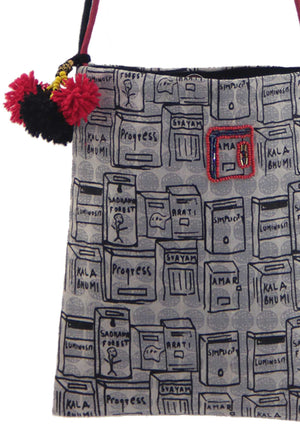 Organic Doodle Sling Bag with hand-emboidery - COMMUNITA - Upasana Design Studio