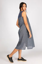 Natural Indigo Organic Cotton Checked Dress - RAGA - Upasana Design Studio