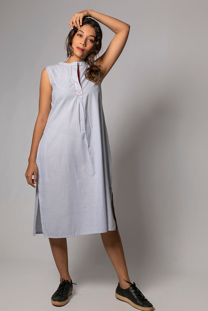 Blue Organic Cotton Checked Dress - RAGA - Upasana Design Studio