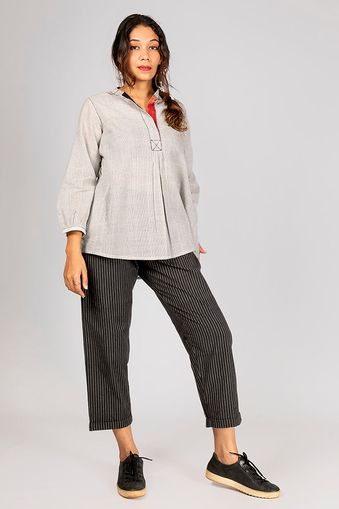 Off White Organic Cotton Checked Top - AARA