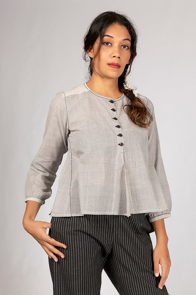Off White Organic Cotton Checked Top - JUBA - Upasana Design Studio