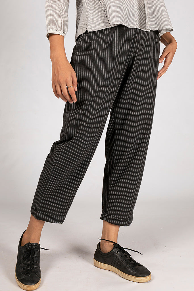 Black Organic Cotton Striped Bottom - VIBA - Upasana Design Studio
