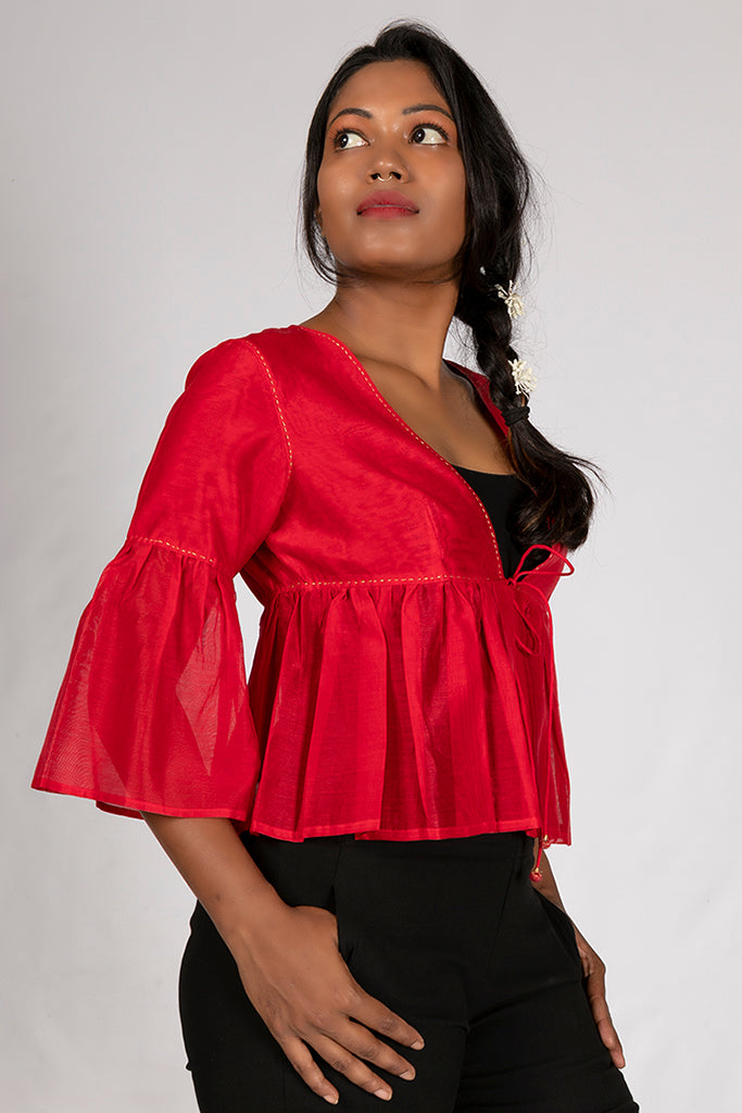 Red Cotton Silk Jamdani Top - PIA