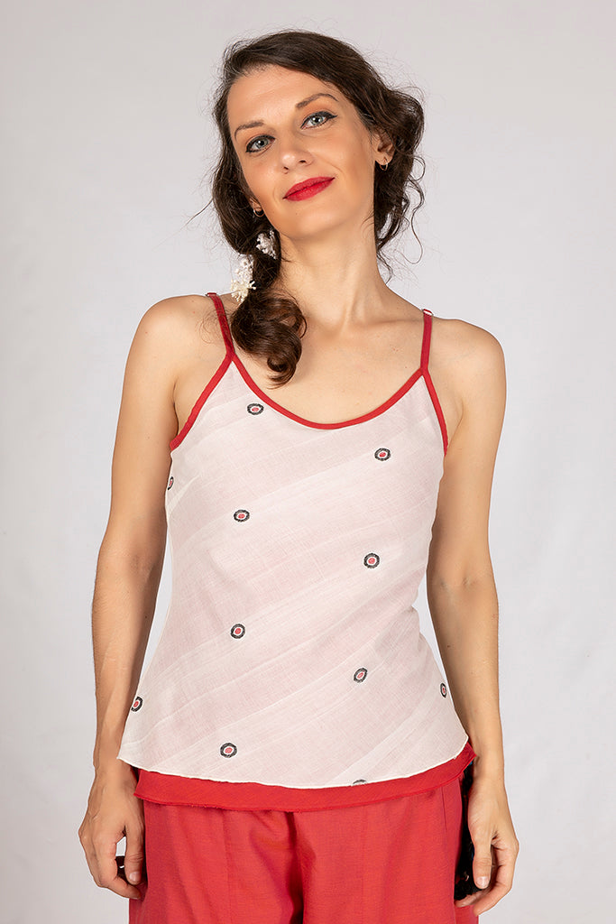 Red Organic Cotton Jamdani Top - HELI