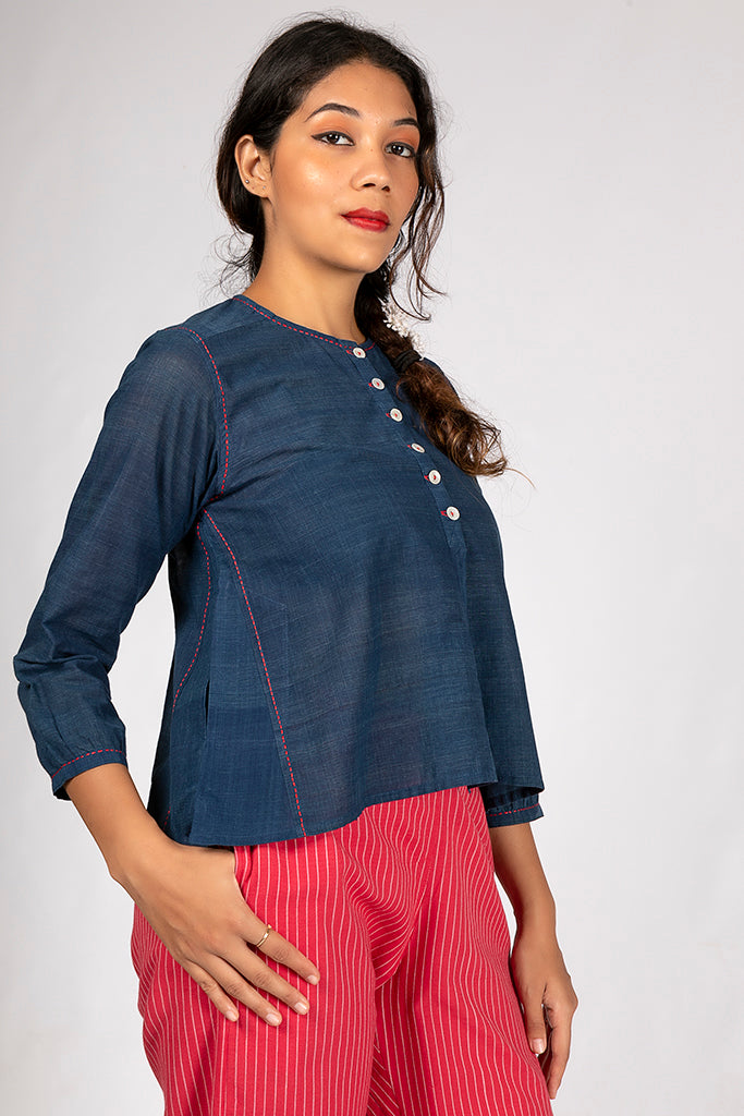 Natural Indigo Organic Cotton Striped Top - JUBA - Upasana Design Studio