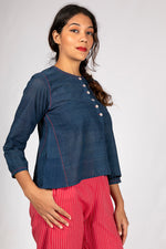Natural Indigo Organic Cotton Striped Top - JUBA