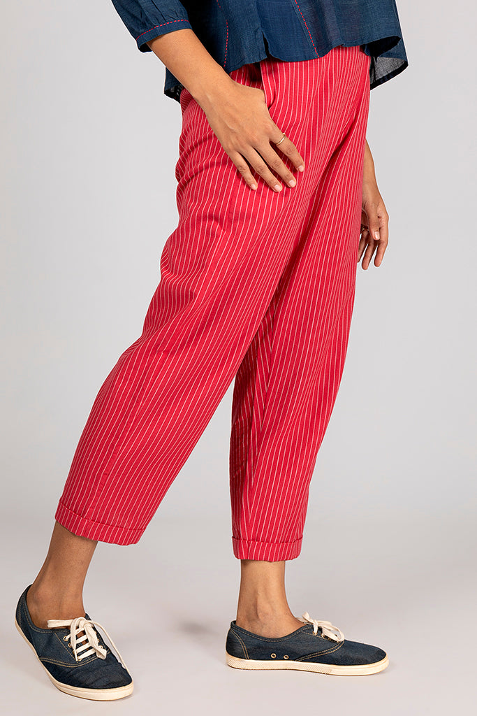 Red Organic Cotton Striped Bottom - VIBA - Upasana Design Studio