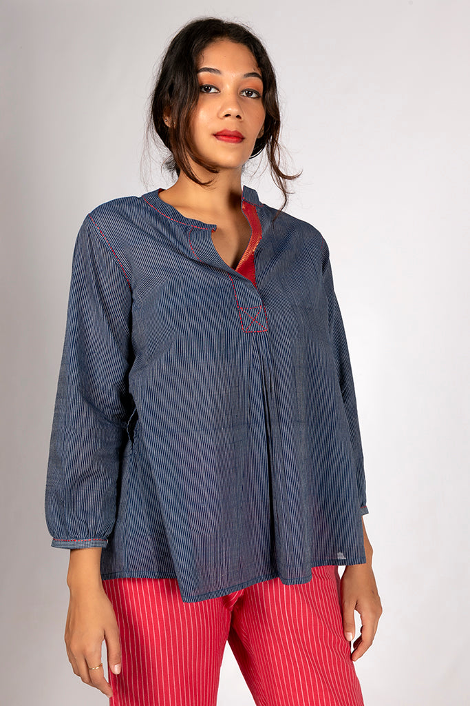 Natural Indigo Organic Cotton Checked Top - AARA