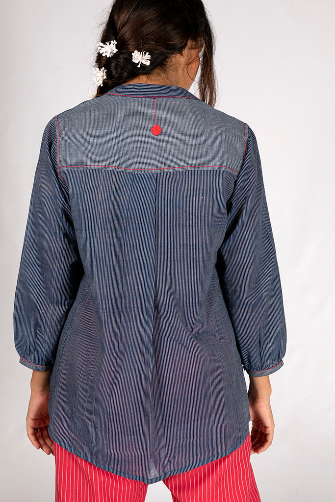 Natural Indigo Organic Cotton Checked Top - AARA - Upasana Design Studio