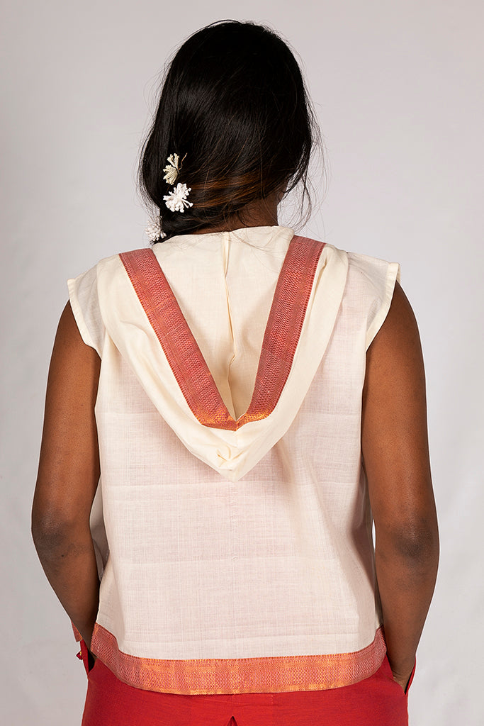 Off White Cotton Border Top - ZIA - Upasana Design Studio