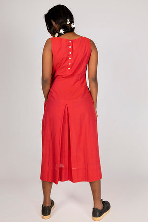 Red Organic Cotton Plain Dress - NIKITA - Upasana Design Studio