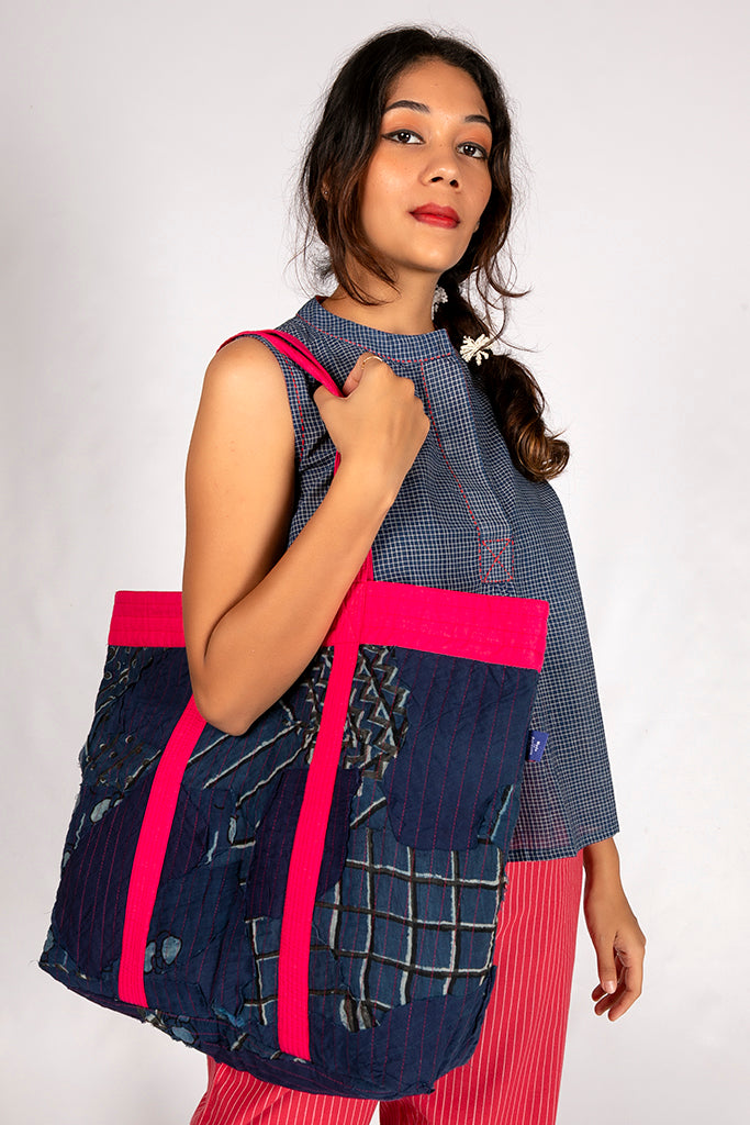 Natural Indigo Cotton Checked Top - AHELI - Upasana Design Studio